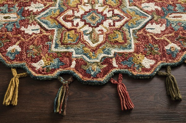 Red, Gold Moroccan Area Rug
