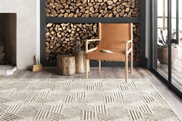 Oatmeal, Ivory Contemporary / Modern Area Rug