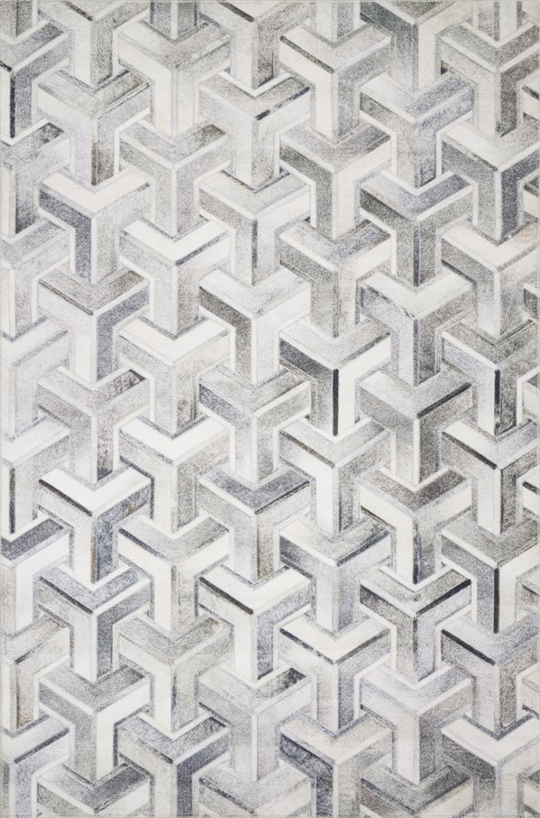 Silver, Ivory Contemporary / Modern Area Rug
