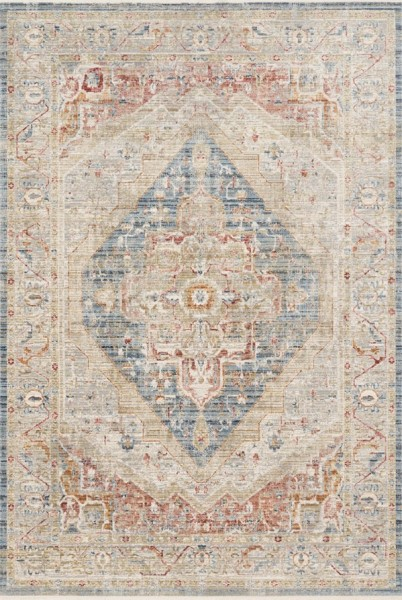 Beige, Red, Blue Vintage / Overdyed Area Rug