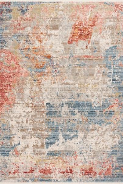 Grey, Blue, Brick Abstract Area Rug