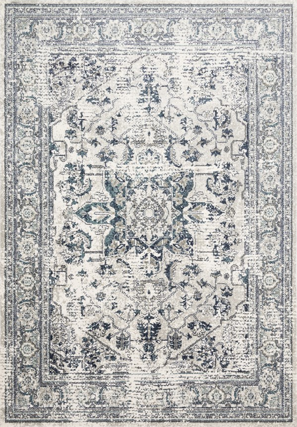 Cream, Grey, Blue Traditional / Oriental Area Rug