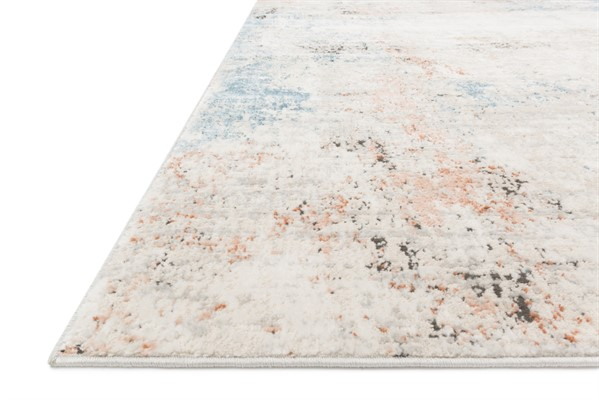 Ivory, Grey, Blue Abstract Area Rug