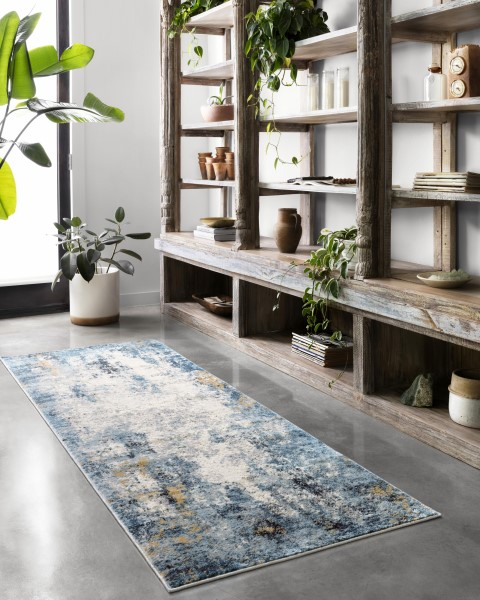 Denim, Ivory Abstract Area Rug
