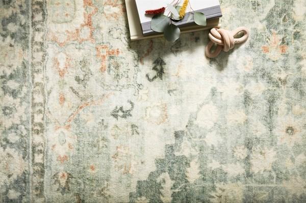 Teal, Ivory Vintage / Overdyed Area Rug