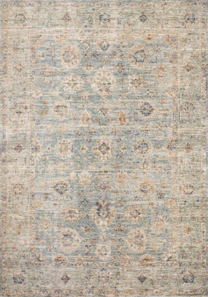 Light Blue, Tan Vintage / Overdyed Area Rug