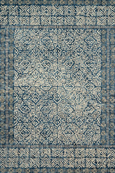 Denim, Ivory Contemporary / Modern Area Rug