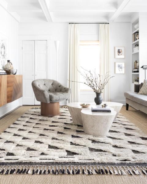 Natural, Black Contemporary / Modern Area Rug