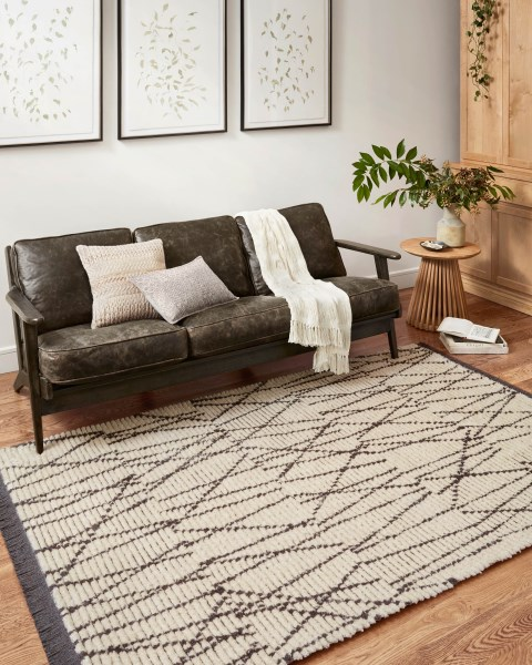 Cream, Charcoal Contemporary / Modern Area Rug