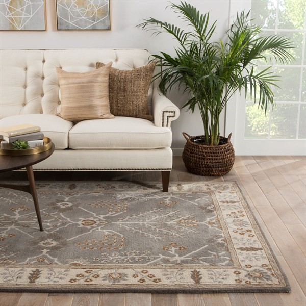 Charcoal Gray, Ivory (PM-144) Bohemian Area Rug