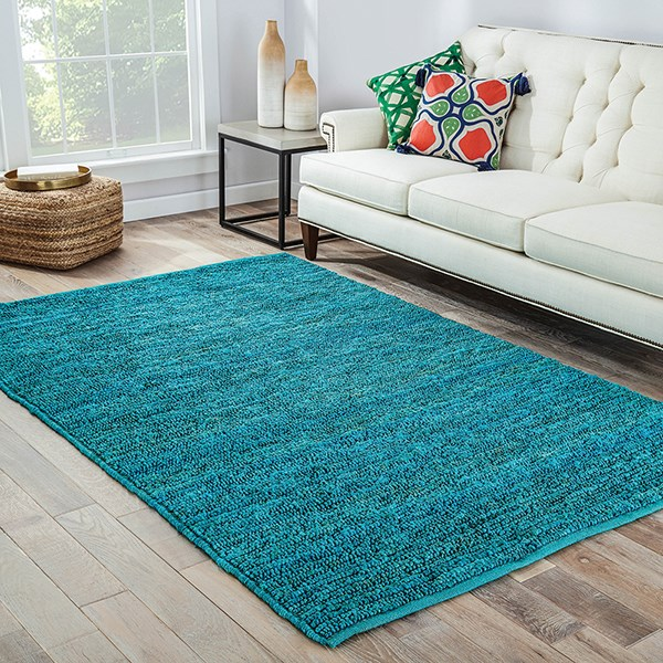 Cool Aqua (CL-02) Natural Fiber Area Rug