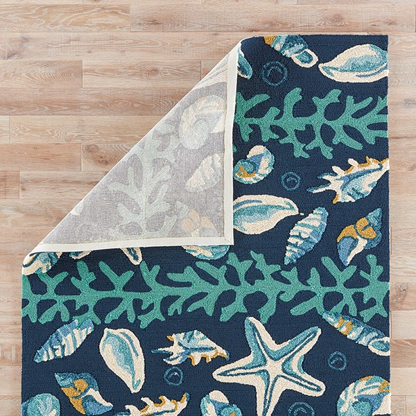 Insignia Blue, Ivory (COL-43) Outdoor / Indoor Area Rug
