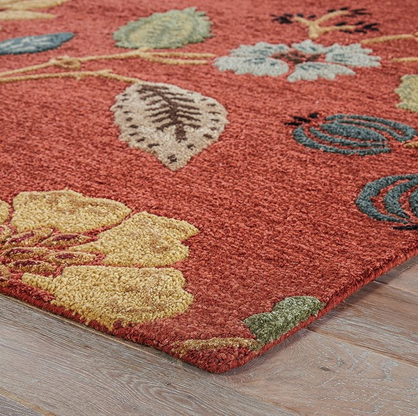 Copper Brown, Mustard Gold (BL-05) Floral / Botanical Area Rug
