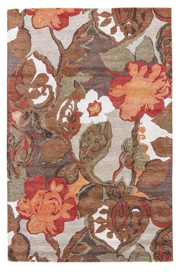 Brown, Orange (BL-12) Floral / Botanical Area Rug