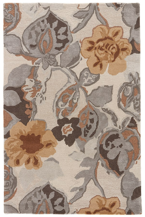 White, Nickel (BL-65) Floral / Botanical Area Rug