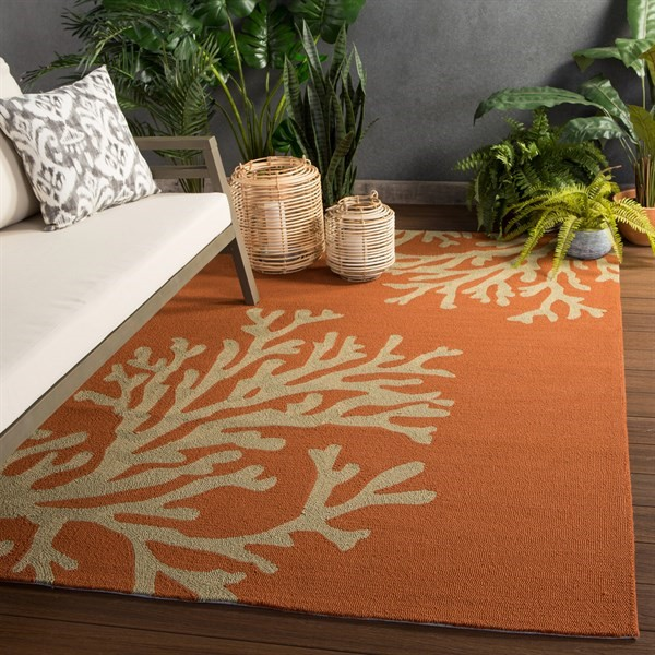 Orange, Gray (GD-01) Outdoor / Indoor Area Rug