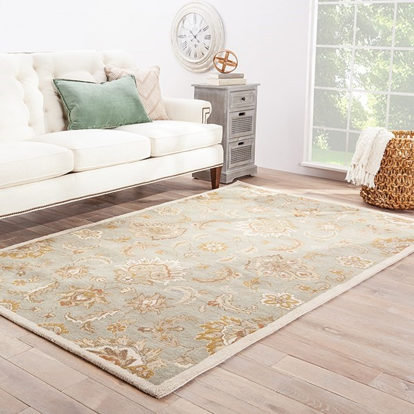 Ice Blue, Antique White (MY-13) Traditional / Oriental Area Rug