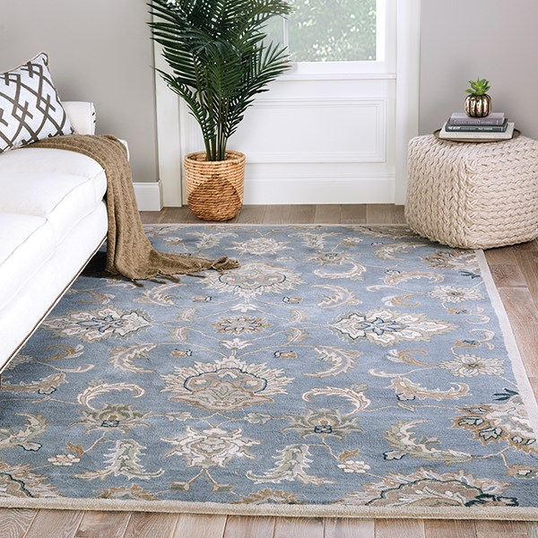 Blue, Taupe (MY-21) Traditional / Oriental Area Rug