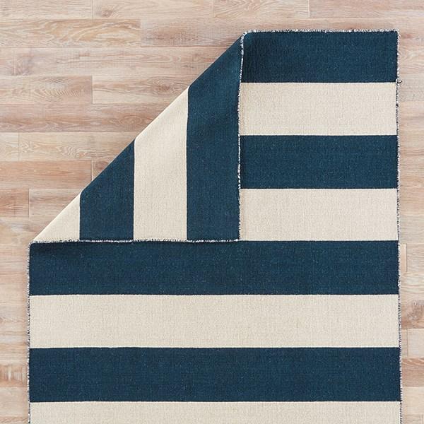 Midieval Blue, White Ice (PV-34) Striped Area Rug