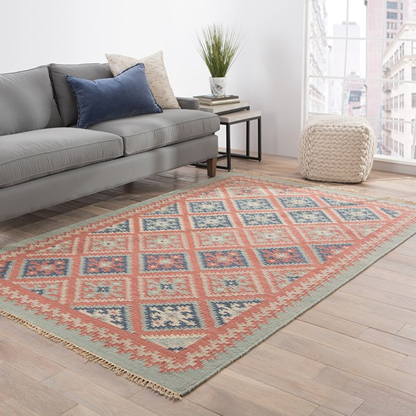Burnt Brick, Medium Blue (AT-01) Southwestern / Lodge Area Rug