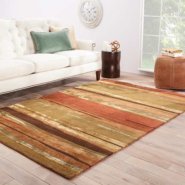 Classic Rust, Bronze Green (BQ-06) Striped Area Rug