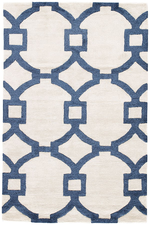 Cream, Dark Blue (CT-57) Moroccan Area Rug