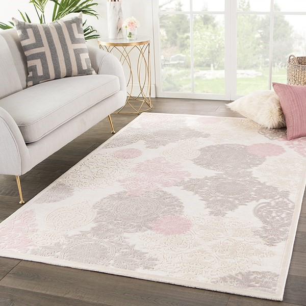 Ivory, Pink (FB-180) Transitional Area Rug