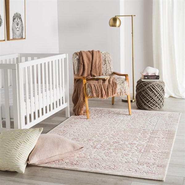Ivory, Pink (FB-181) Contemporary / Modern Area Rug