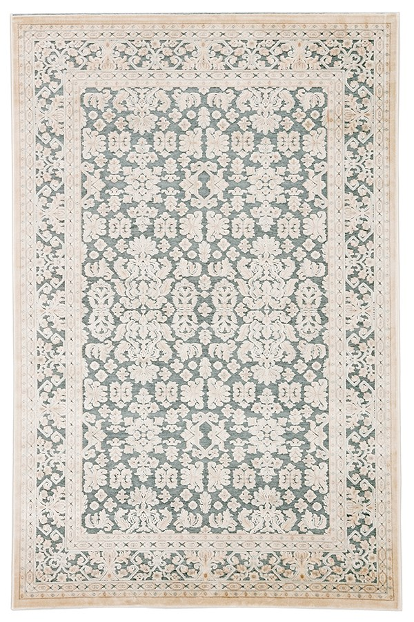 Teal, Ivory (FB-182) Traditional / Oriental Area Rug