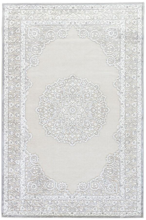 Bright White, Gray (FB-124) Mandala Area Rug