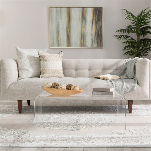 Bright White, Gray (FB-124) Traditional / Oriental Area Rug