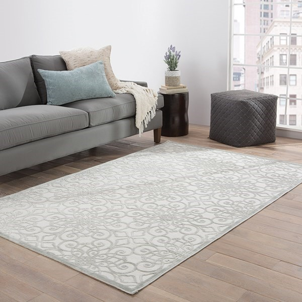 Bright White, Gray (FB-133) Transitional Area Rug