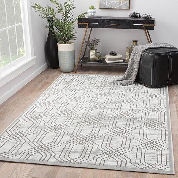 White, Dark Gray (FB-161) Contemporary / Modern Area Rug