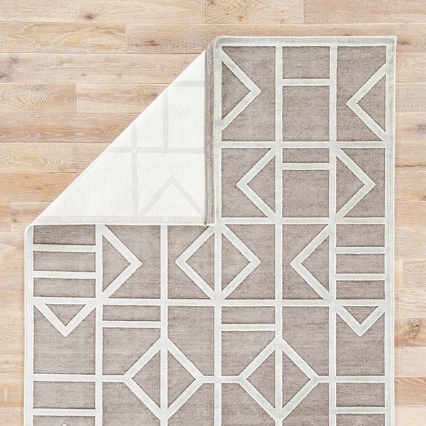 Gray, White (FB-154) Contemporary / Modern Area Rug