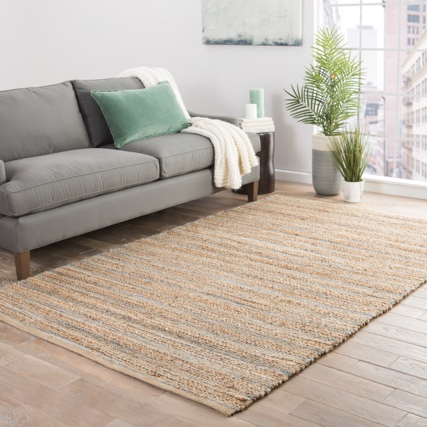 Beige, Blue (HM-02) Natural Fiber Area Rug