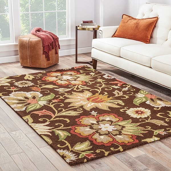 Dark Chocolate (HAC-07) Floral / Botanical Area Rug