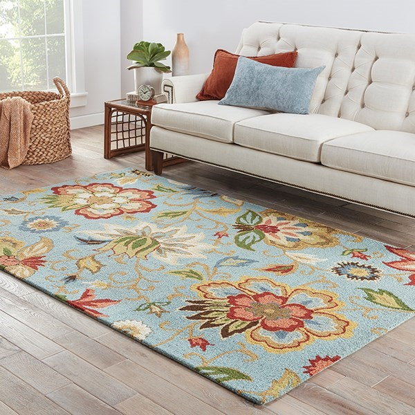 Light Turquoise (HAC-09) Floral / Botanical Area Rug