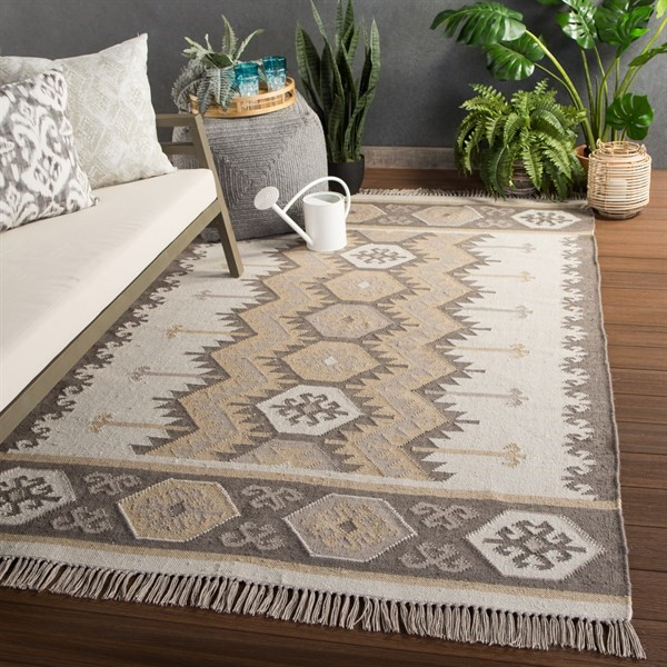 Silver Green, Ivory (DES-06) Southwestern Area Rug