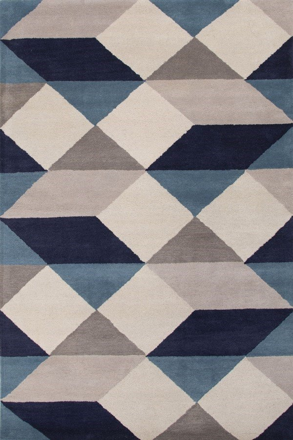White, Deep Navy (LST-17) Contemporary / Modern Area Rug