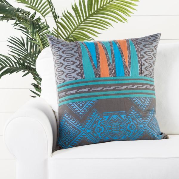 Grey, Aqua (MNP-09) Moroccan pillow