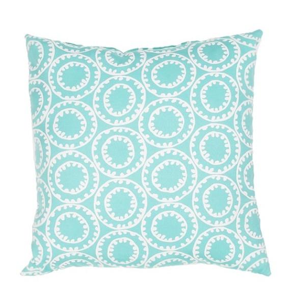 Turquoise, Cloud Dancer (VER-82) Outdoor / Indoor pillow