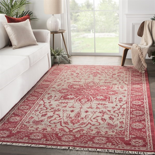 Red, Beige (LIB-08) Vintage / Overdyed Area Rug