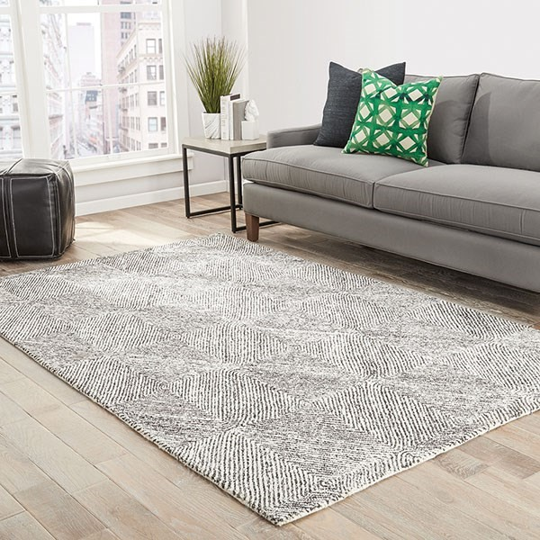 White, Gray (MMT-19) Contemporary / Modern Area Rug