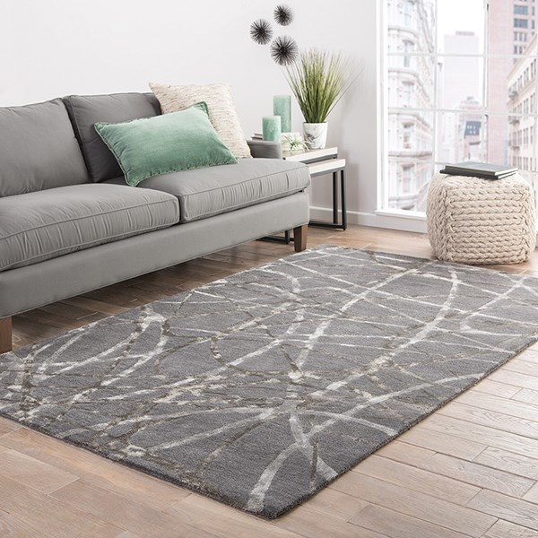 Steel Gray, Ivory (HOL-03) Contemporary / Modern Area Rug