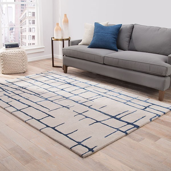Taupe, Navy (HOL-16) Contemporary / Modern Area Rug