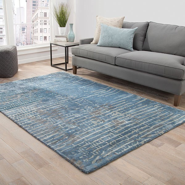 Blue, Taupe (TRD-02) Abstract Area Rug