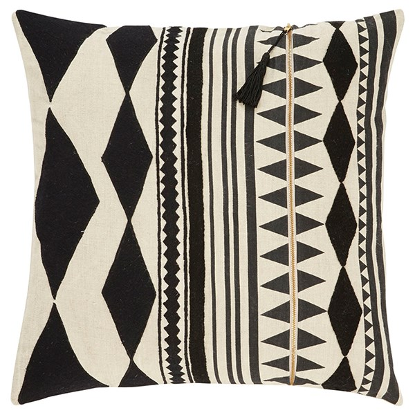 Jet Black, Ivory Southwestern / Lodge pillow