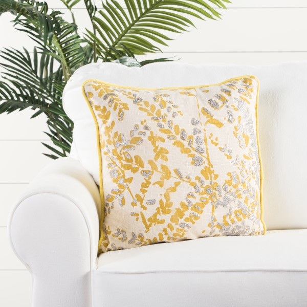 Yellow, Silver Floral / Botanical pillow
