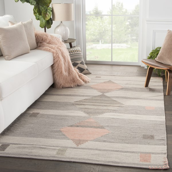 Light Gray, Dusty Coral (CAL-02) Southwestern Area Rug
