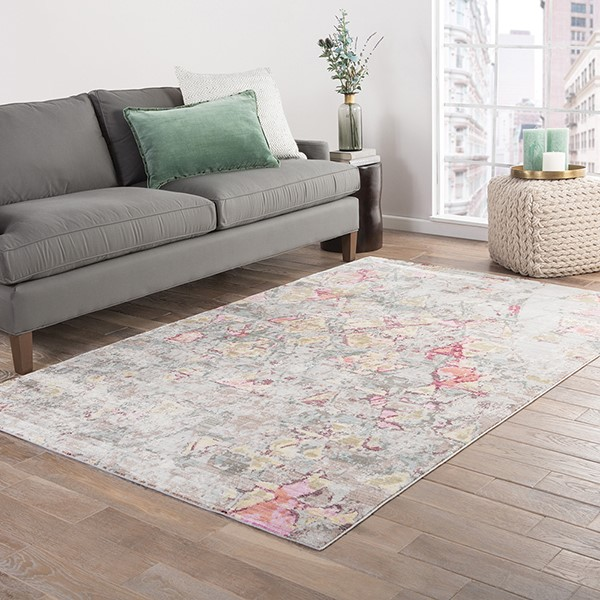 Gray, Green, Pink, Brown (CER-05) Contemporary / Modern Area Rug